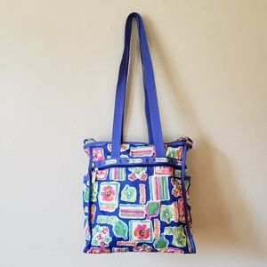 Le Sportsac Bold Blue Floral Watercolor Tote